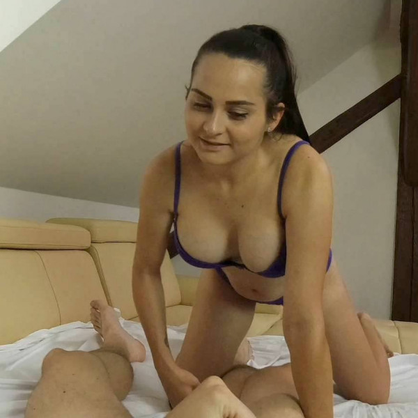 Ponytail brunette rides hard cock in POV - Photo 1 / 16